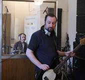 Peter and Bruce laying down the backing track.