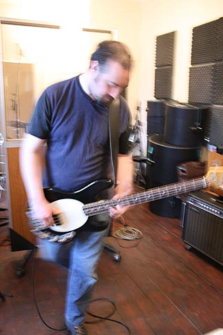 Photo: Peter getting the bass parts right.